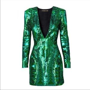 H&M Balmain Green Sequin Dress Size 10